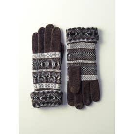 婦人編手袋 (ブラウン)