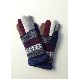 婦人編手袋 (ネイビー)