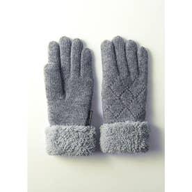 婦人編手袋 (グレー)