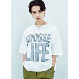 CHOOSE LIFE オーガニックコットン ショート丈Tシャツ (ホワイト)