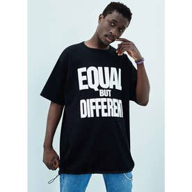 EQUAL BUT DIFFERENT オーガニックコットン ロングTシャツ (ブラック)