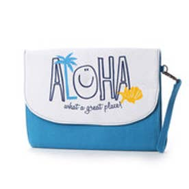【kahiko】ALOHA&パームツリークラッチバッグ ホワイト