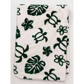 【Kahiko】モンステラ&ホヌブランケットMサイズ ホワイト×グリーン