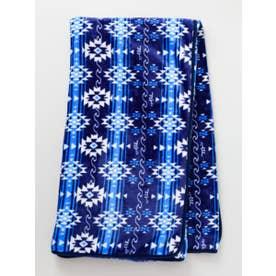 【Kahiko】オルテガ柄フリースブランケットLサイズ ブルー
