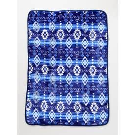 【Kahiko】オルテガ柄フリースブランケットSサイズ ブルー