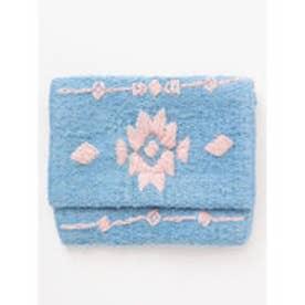【Kahiko】オルテガ柄刺繍フラップポーチ ブルー