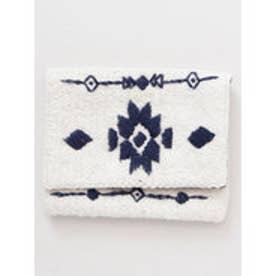 【Kahiko】オルテガ柄刺繍フラップポーチ ホワイト