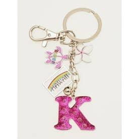 【Kahiko】ハワイアンイニシャルキーホルダー ピンク K