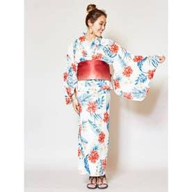 【Kahiko】ハイビスカスセパレート浴衣 ホワイト