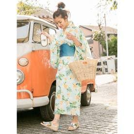 【Kahiko】トロピカルフラワーセパレート浴衣 ブルー