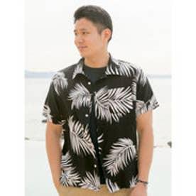 【Kahiko】ハワイアン柄メンズアロハシャツ ブラック×ホワイト