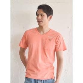 【Kahiko】ALOHAコンチョVネックメンズTシャツ オレンジ