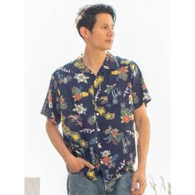 【Kahiko】チャプスイ柄MEN'Sアロハシャツ ネイビー