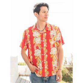 【Kahiko】ヴィンテージ風ハイビスカス柄MEN'Sアロハシャツ レッド
