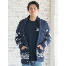 【Kahiko】オルテガウェーブMEN'Sニットショートカーディガン ネイビー