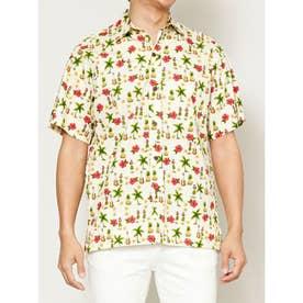 【Kahiko】TWO PALMS フラギャルズMEN'Sアロハシャツ クリーム