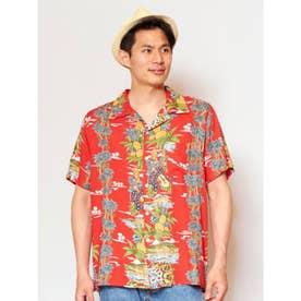 【Kahiko】ハワイアンボタニカルMEN'Sアロハシャツ レッド