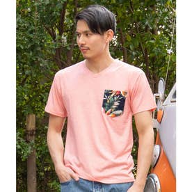 【Kahiko】ボタニカル柄ポケットMEN'Sトップス ピンク