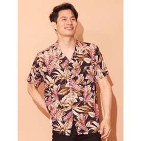 【Kahiko】ハワイアンボタニカル柄MEN'Sアロハシャツ ブラック