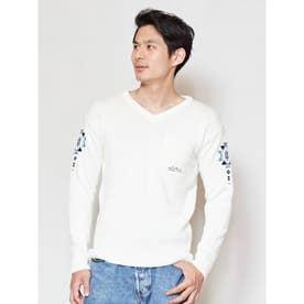【Kahiko】オルテガ柄刺繍VネックMEN'Sニットトップス ホワイト