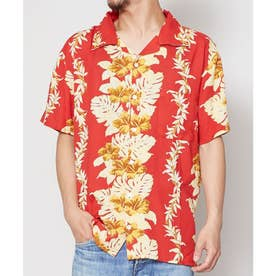 【Kahiko】アロアロMEN'Sアロハシャツ レッド