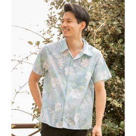 【Kahiko】ハイビスカスMEN'Sアロハシャツ ブルー