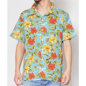 【Kahiko】ラウナMEN'Sアロハシャツ ターコイズブルー