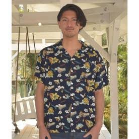 【Kahiko】ウクレロMEN'Sアロハシャツ ネイビー