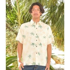 【Kahiko】TWO PALMS パームズMEN'Sアロハシャツ クリーム