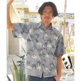 【Kahiko】TWO PALMS パームズMEN'Sアロハシャツ ネイビー