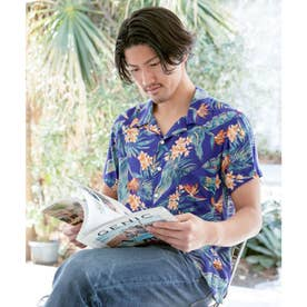 【Kahiko】リノカイMEN'Sアロハシャツ ネイビー