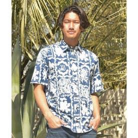 【Kahiko】パームツリー&ハイビスカスMEN'Sアロハシャツ ネイビー