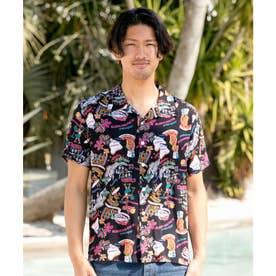 【Kahiko】チャプスイ柄MEN'Sアロハシャツ ブラック