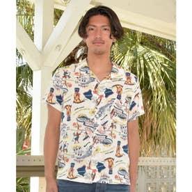 【Kahiko】チャプスイ柄MEN'Sアロハシャツ ホワイト