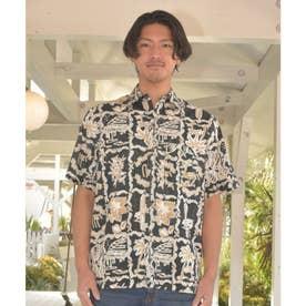 【Kahiko】パームツリー&ハイビスカスMEN'Sアロハシャツ ブラック