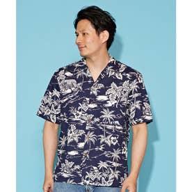 【Kahiko】TWO PALMS フロンシャックMEN'Sアロハシャツ ネイビー