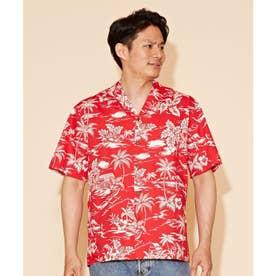 【Kahiko】TWO PALMS フロンシャックMEN'Sアロハシャツ レッド