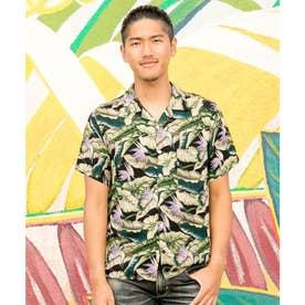 【Kahiko】バードオブパラダイス プリントMEN'Sアロハシャツ ブラック
