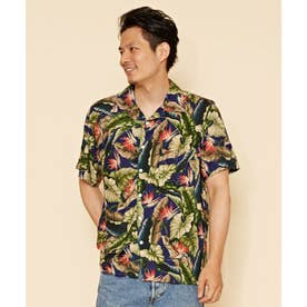 【Kahiko】バードオブパラダイス プリントMEN'Sアロハシャツ ネイビー