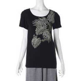 【kahiko】トロピカルリーフ フライスTシャツMサイズ ブラック