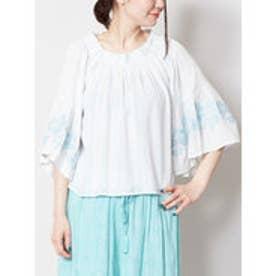 【Kahiko】コットンストライプ刺繍ブラウス ホワイト