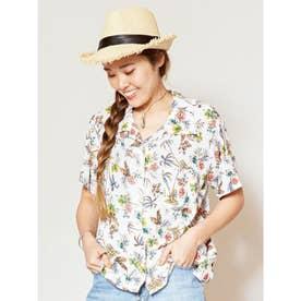 【Kahiko】ボタニカル柄アロハシャツ ホワイト