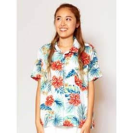 【Kahiko】トロピカルプリントアロハシャツ ホワイト×レッド