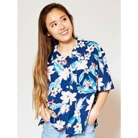【Kahiko】トロピカルプリントアロハシャツ ネイビー