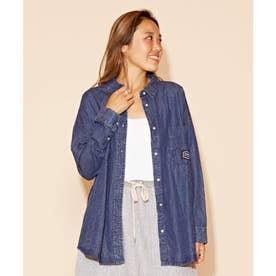 【Kahiko】ALOHA刺繍ダンガリーシャツ ブルー