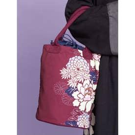 【カヤ】菊牡丹 巾着樽トートバッグ パープル