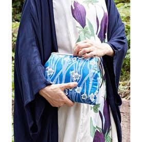 【カヤ】四季ふくれ織り がま口クラッチ&ショルダーバッグ2WAY ブルー