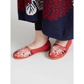 【カヤ】菊刺繍パンプス レッド