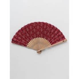 【カヤ】紳士用 麻の葉扇子 袋付き エンジ