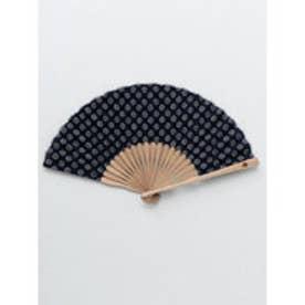 【カヤ】紳士用 藍色小紋扇子 袋付き その他5